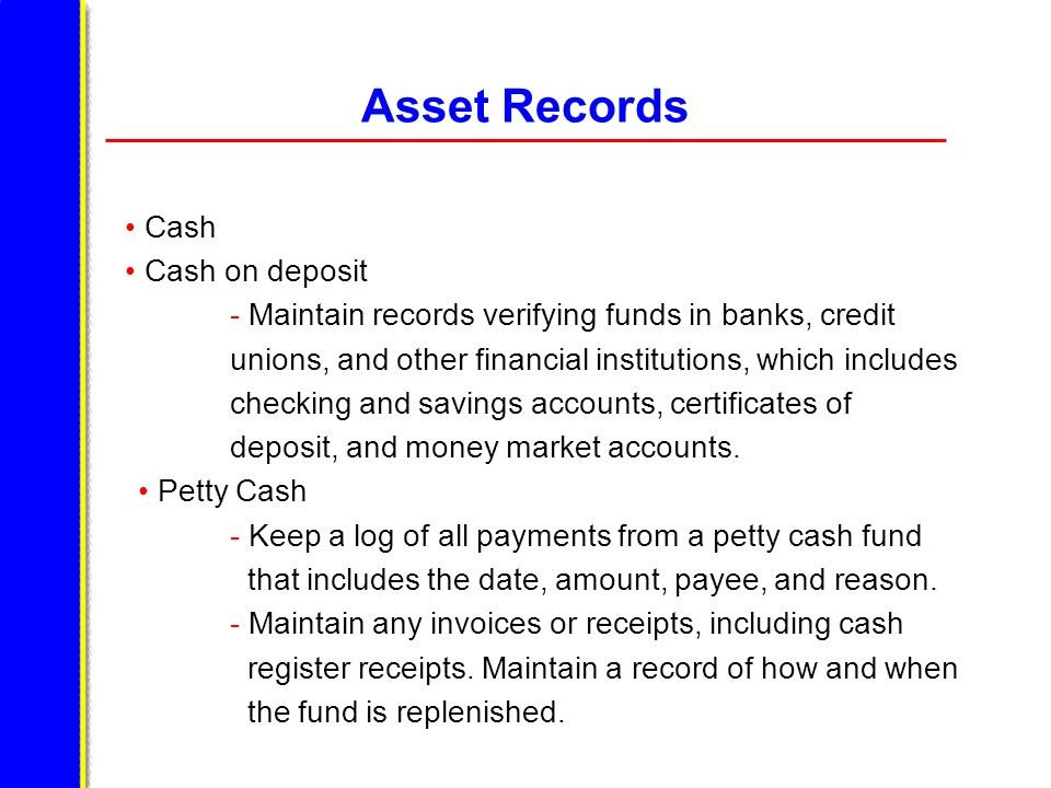 Asset Records Cash Cash on deposit