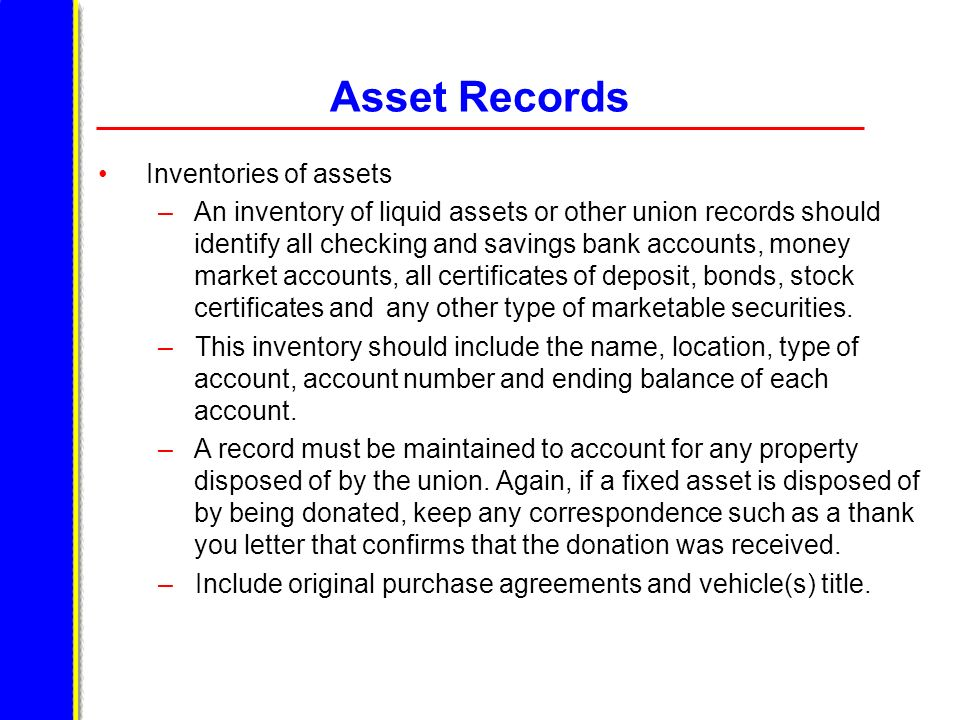 Asset Records Inventories of assets
