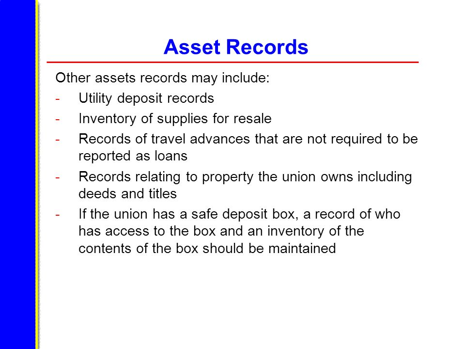 Asset Records Other assets records may include: