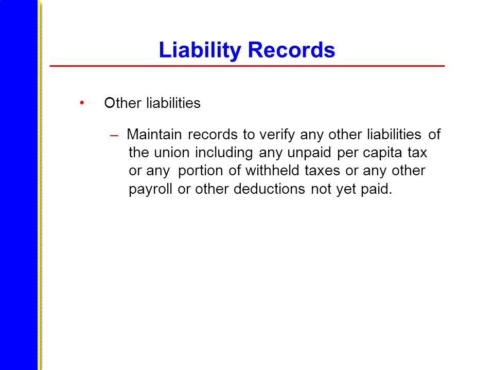 Liability Records Other liabilities