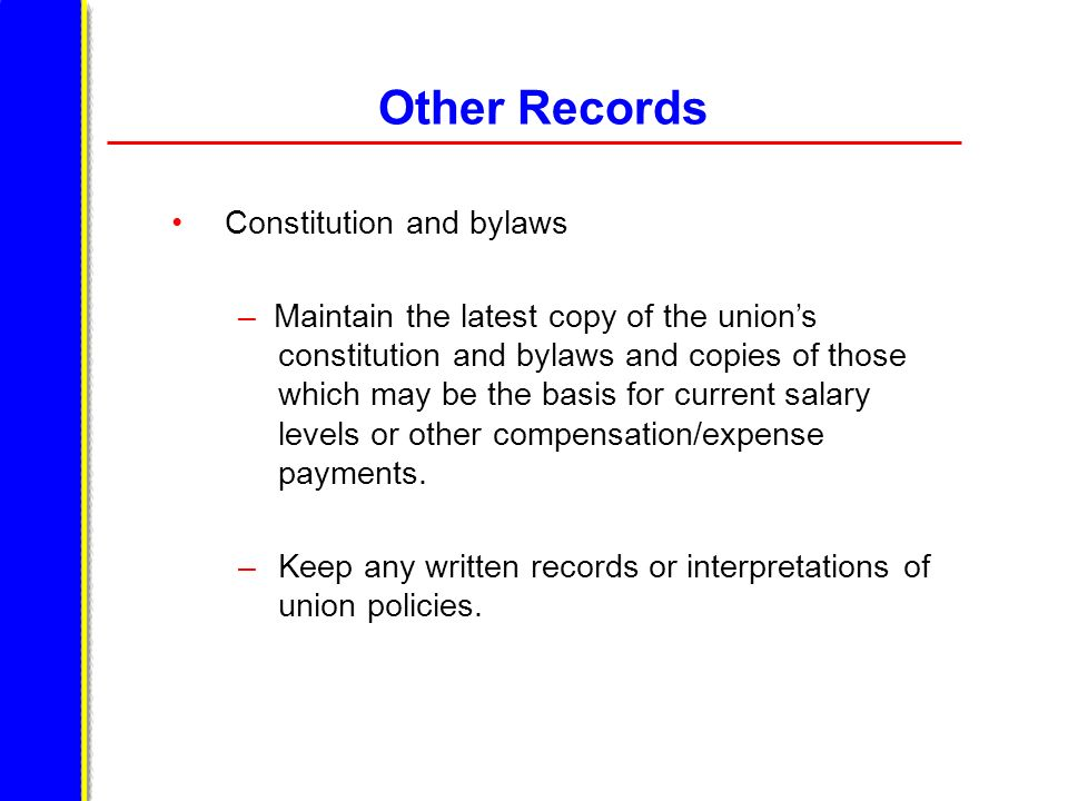 Other Records Constitution and bylaws