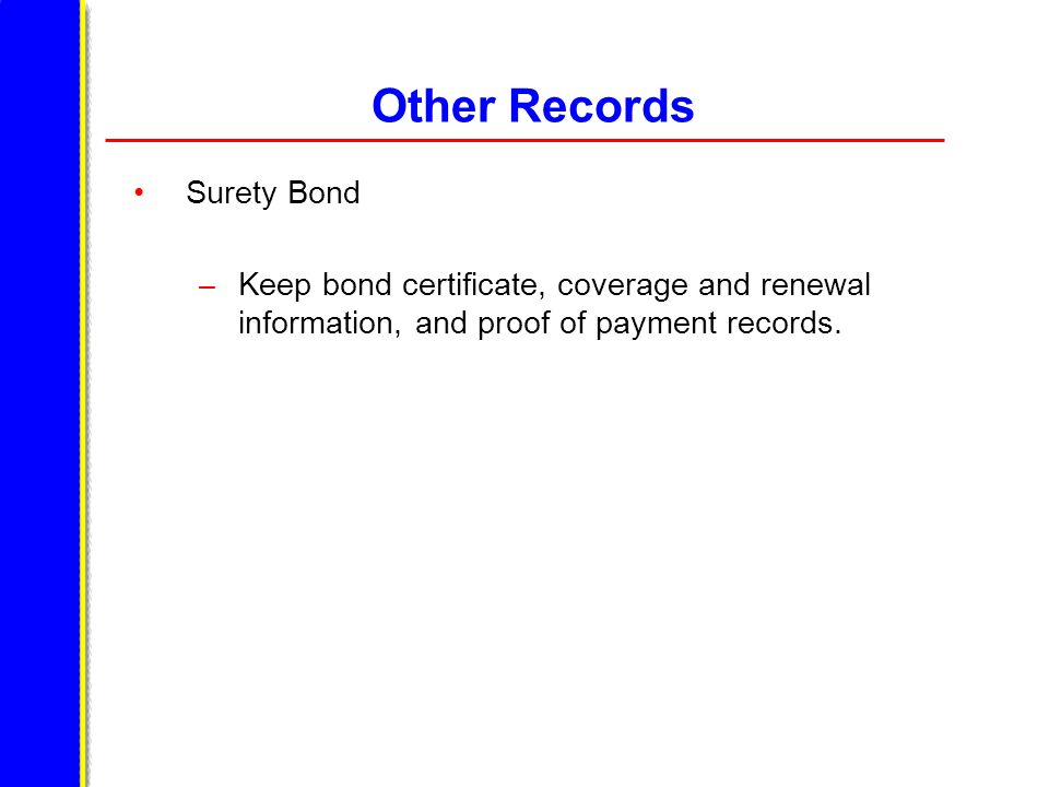Other Records Surety Bond