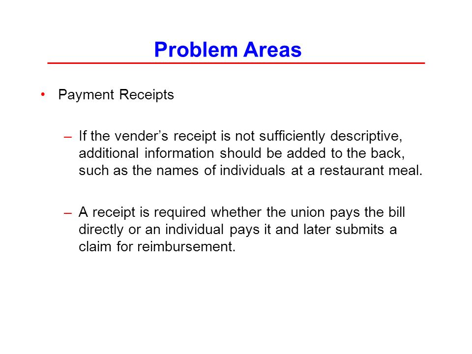 Problem Areas Payment Receipts