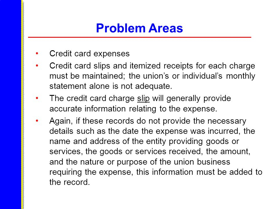 Problem Areas Credit card expenses