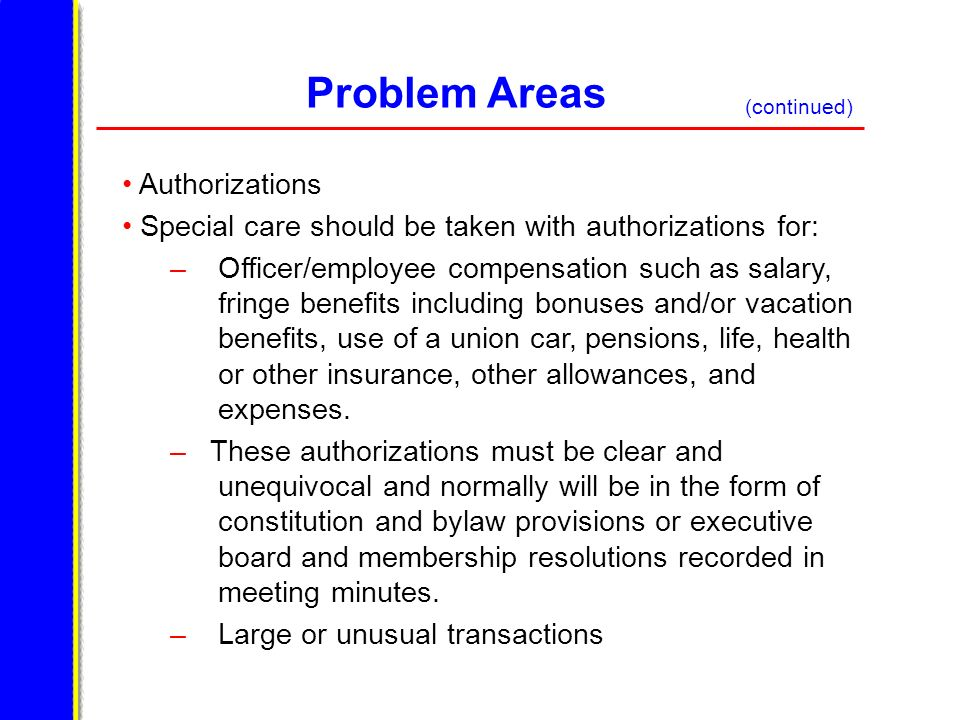 Problem Areas Authorizations