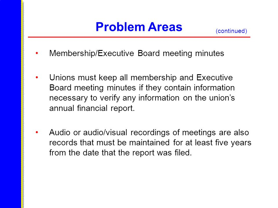 Problem Areas Membership/Executive Board meeting minutes