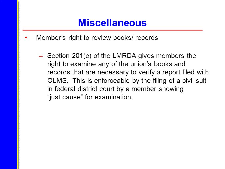 Miscellaneous Member's right to review books/ records