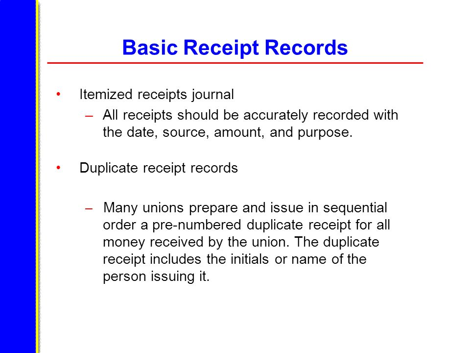 Basic Receipt Records Itemized receipts journal