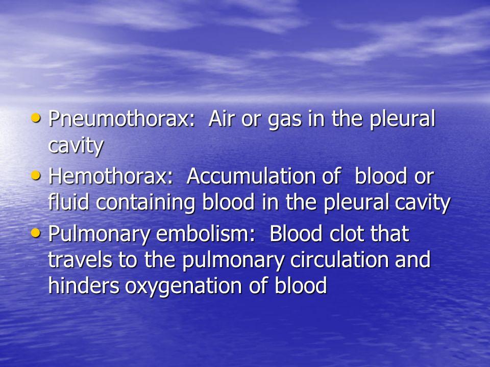Pneumothorax: Air or gas in the pleural cavity