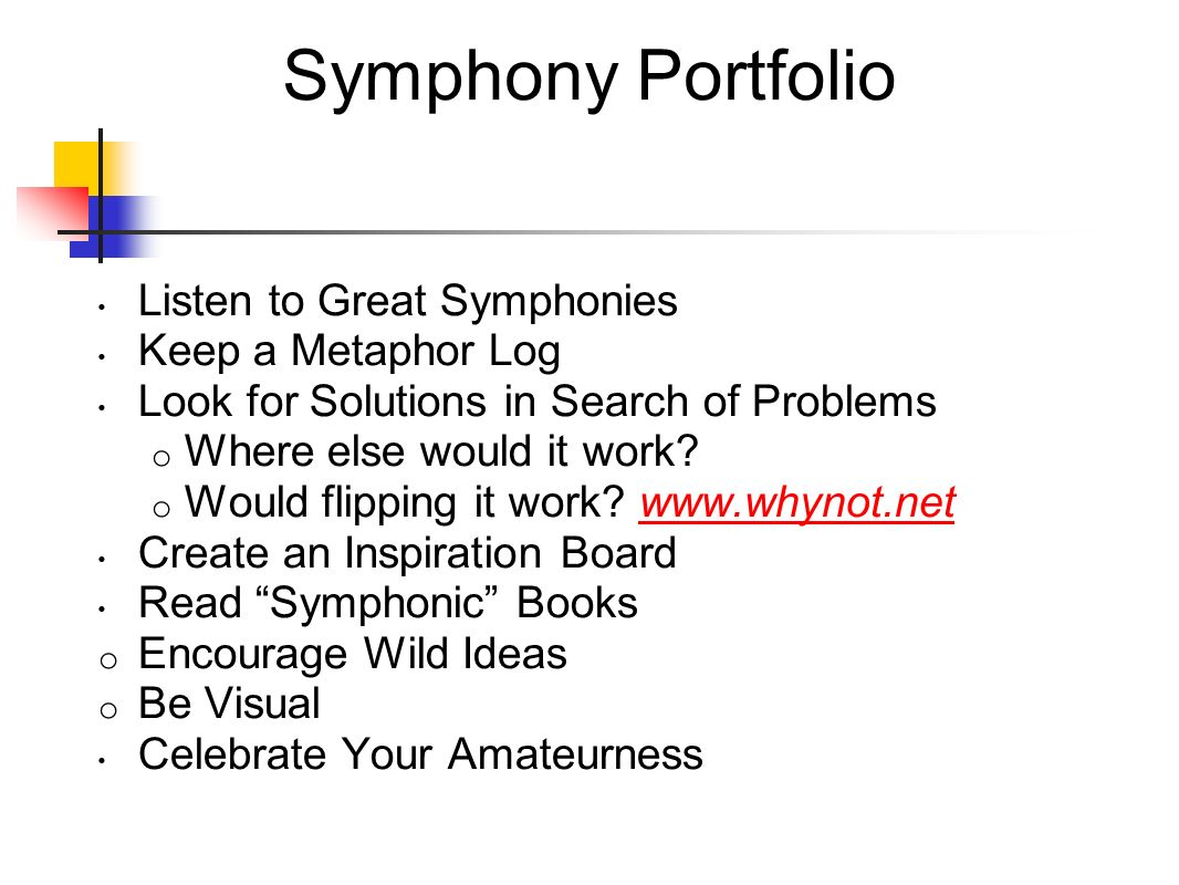 Symphony Portfolio Listen to Great Symphonies Keep a Metaphor Log