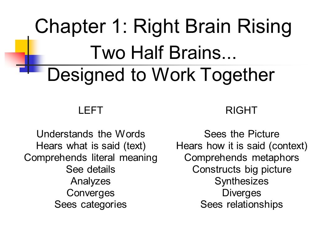 Chapter 1: Right Brain Rising Two Half Brains
