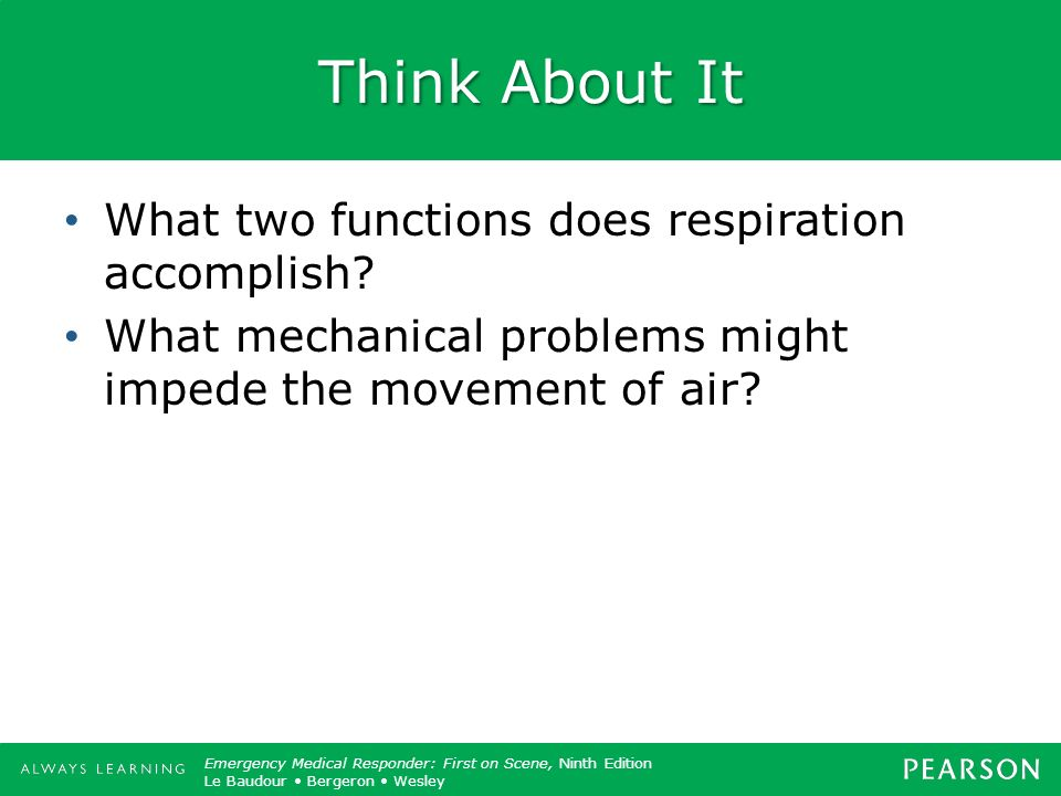 Think About It What two functions does respiration accomplish