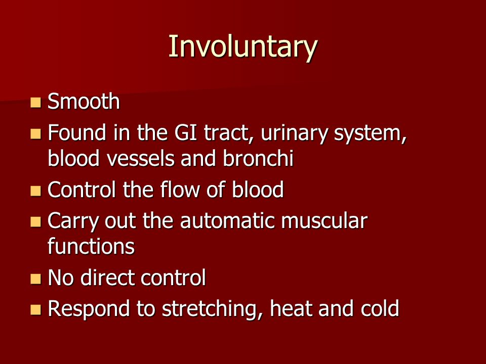 Involuntary Smooth. Found in the GI tract, urinary system, blood vessels and bronchi. Control the flow of blood.