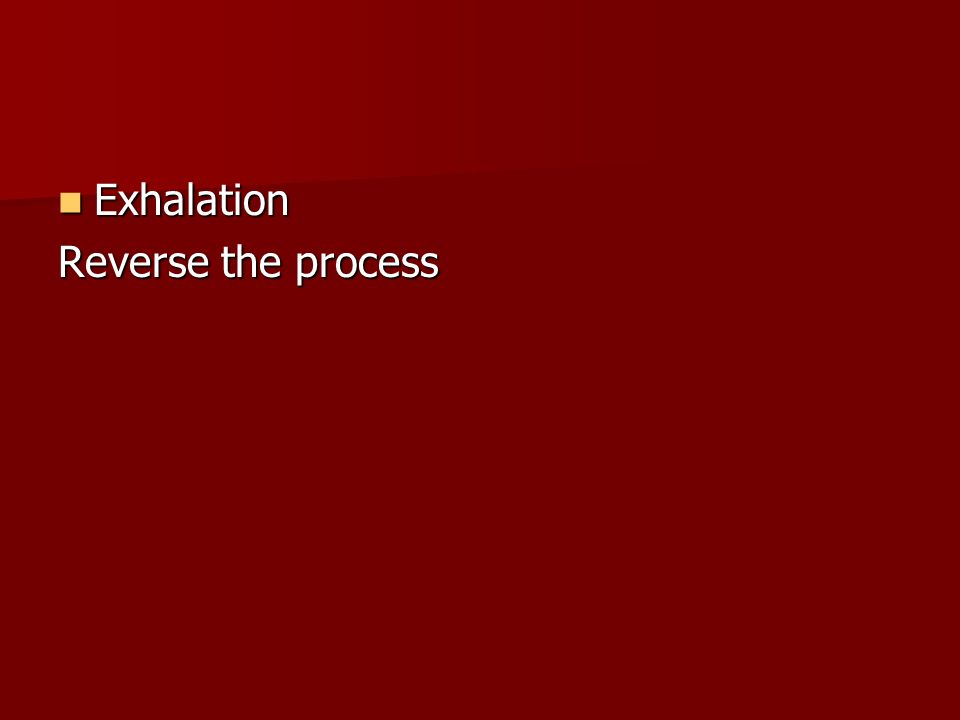 Exhalation Reverse the process