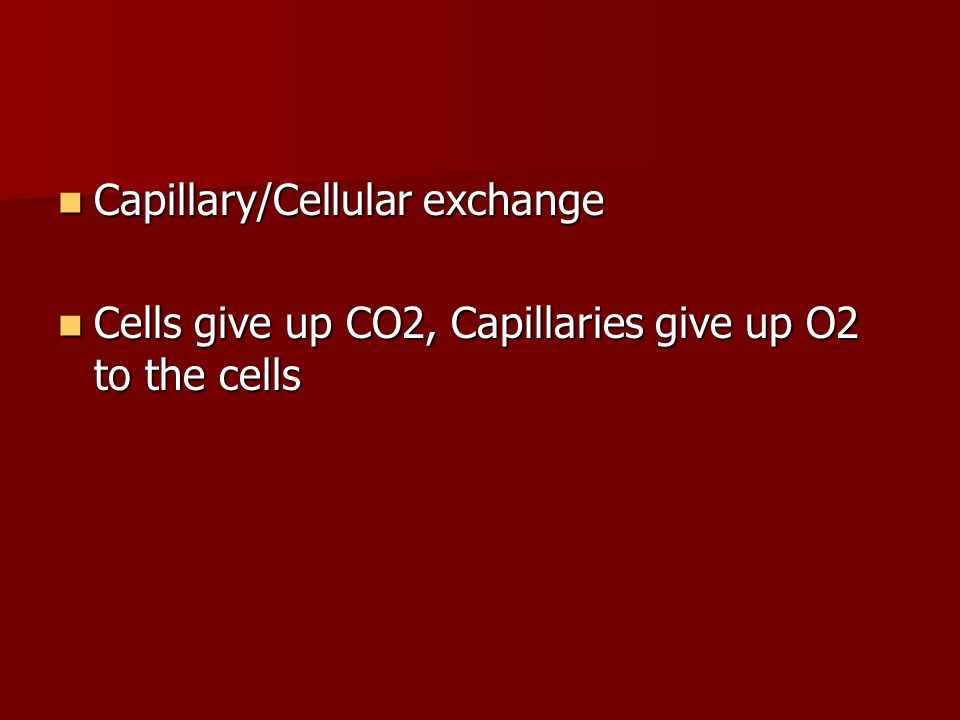 Capillary/Cellular exchange