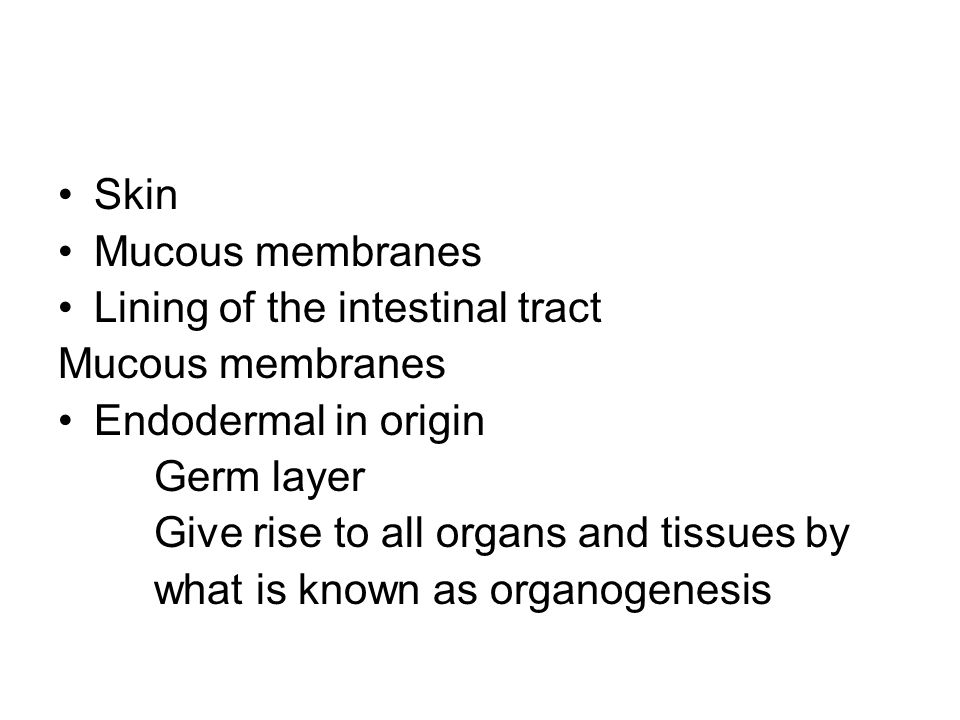 Skin Mucous membranes. Lining of the intestinal tract. Endodermal in origin. Germ layer. Give rise to all organs and tissues by.