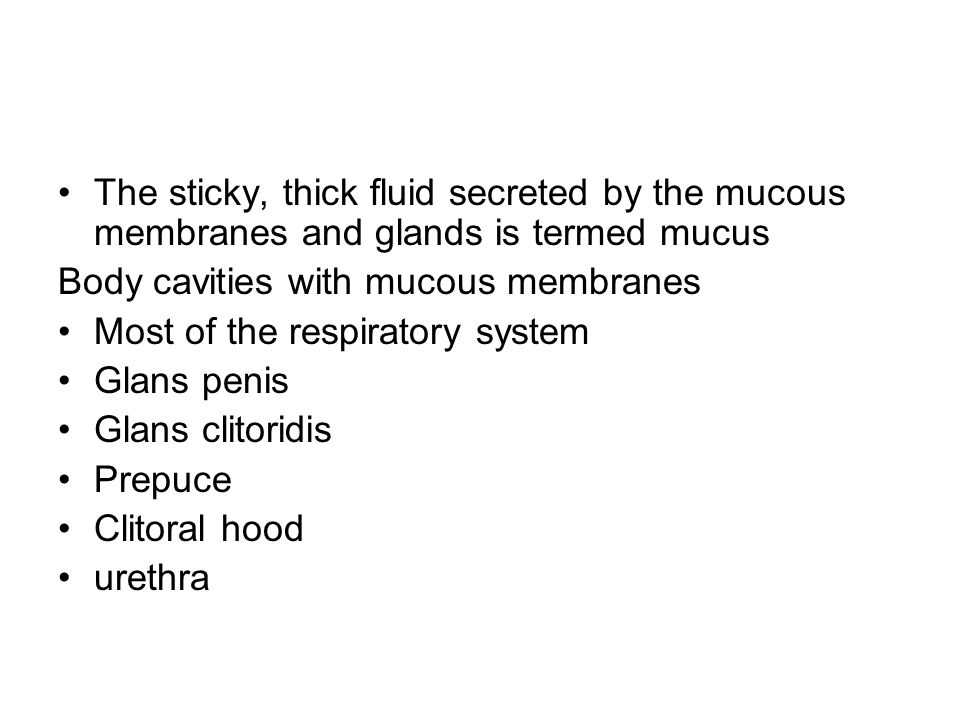 The sticky, thick fluid secreted by the mucous membranes and glands is termed mucus