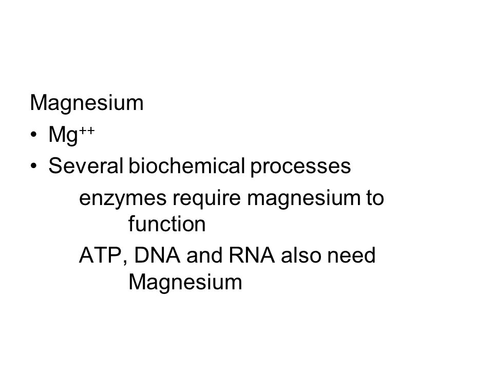 Magnesium Mg++ Several biochemical processes. enzymes require magnesium to function.