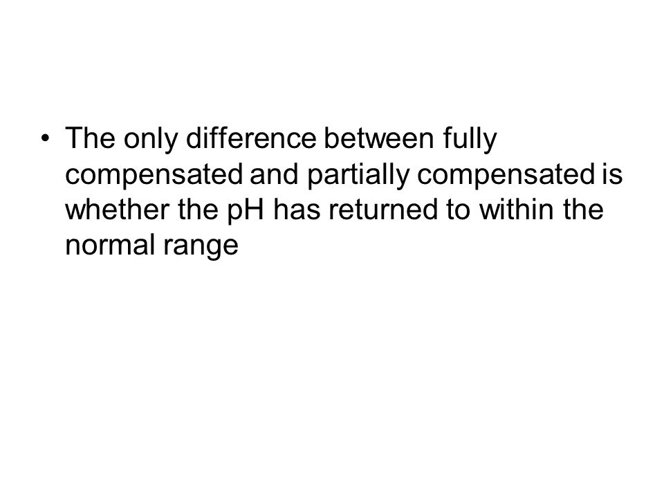 The only difference between fully compensated and partially compensated is whether the pH has returned to within the normal range