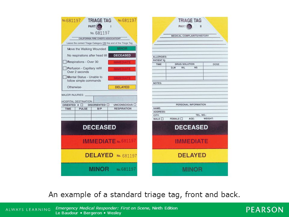 An example of a standard triage tag, front and back.