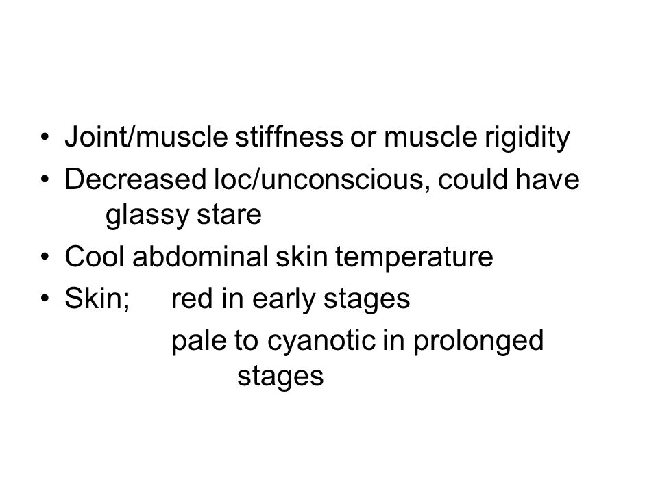 Joint/muscle stiffness or muscle rigidity