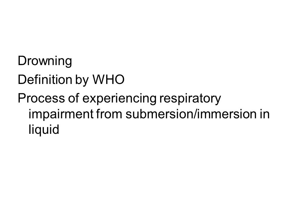 Drowning Definition by WHO.