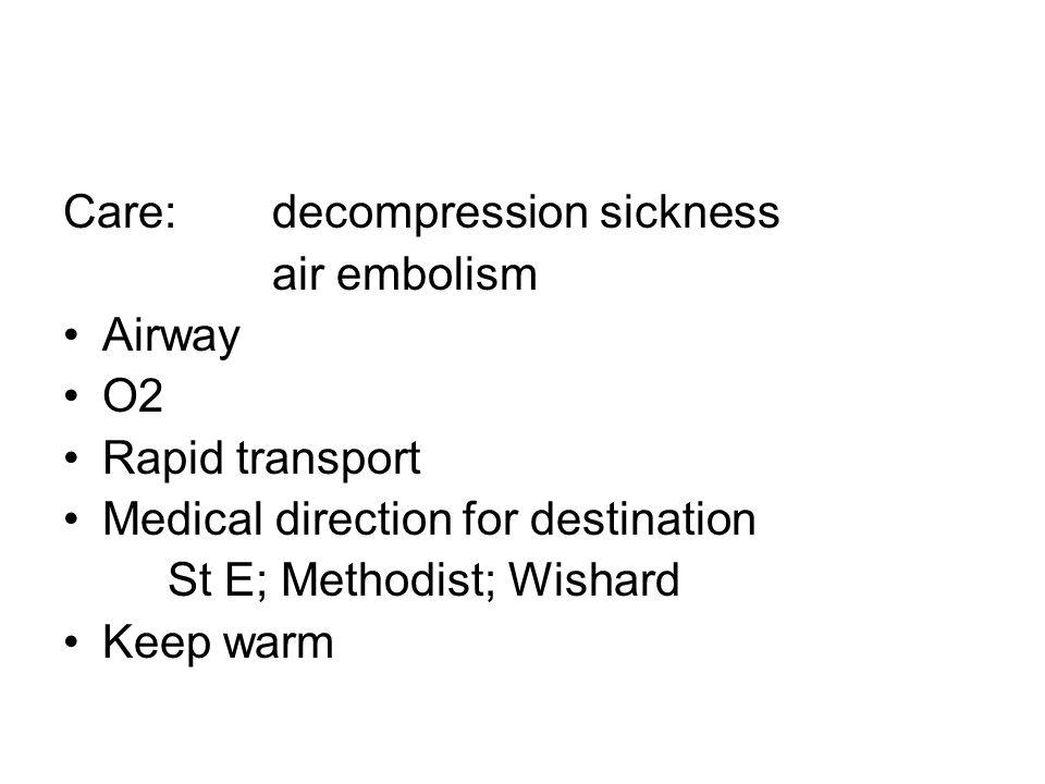 Care: decompression sickness