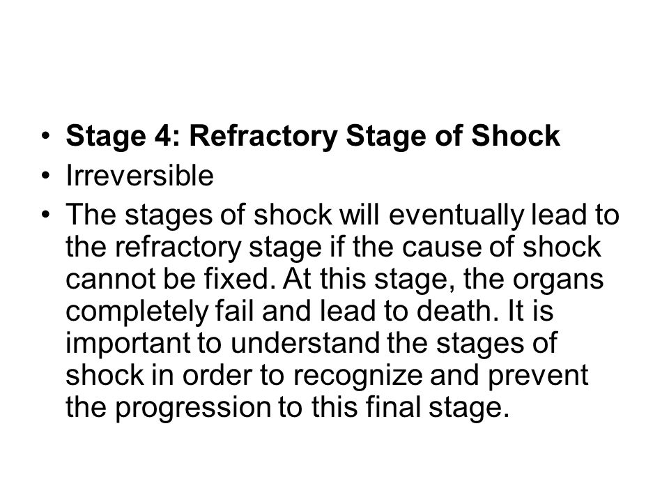 Stage 4: Refractory Stage of Shock
