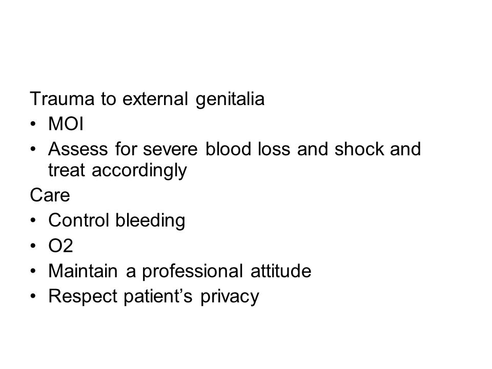 Trauma to external genitalia