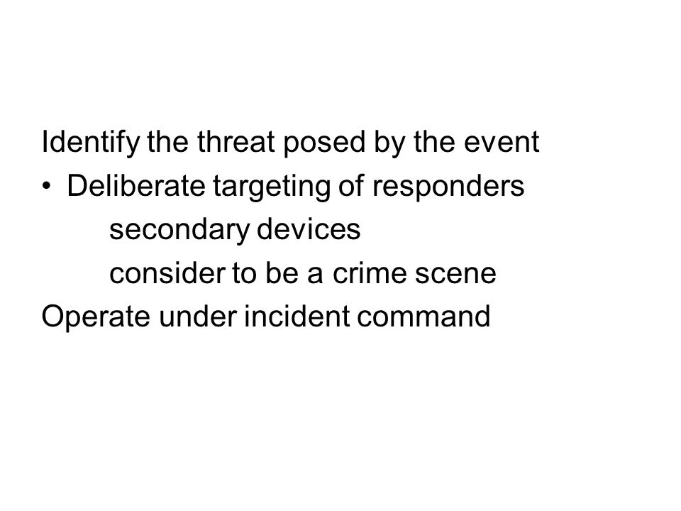 Identify the threat posed by the event