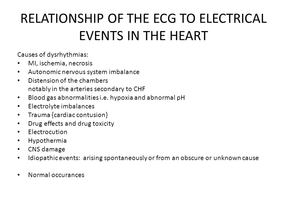 RELATIONSHIP OF THE ECG TO ELECTRICAL EVENTS IN THE HEART
