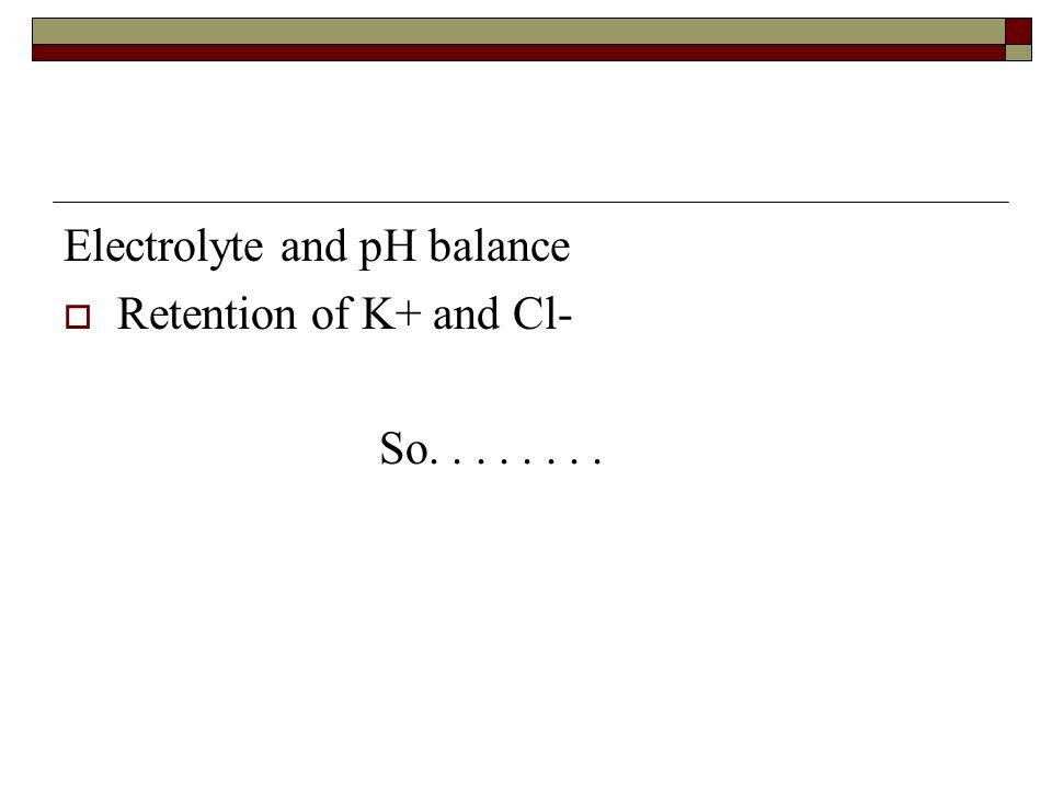 Electrolyte and pH balance