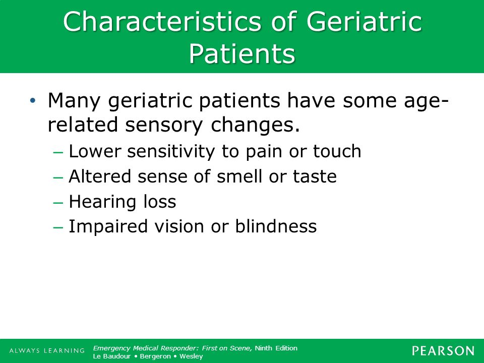 Characteristics of Geriatric Patients