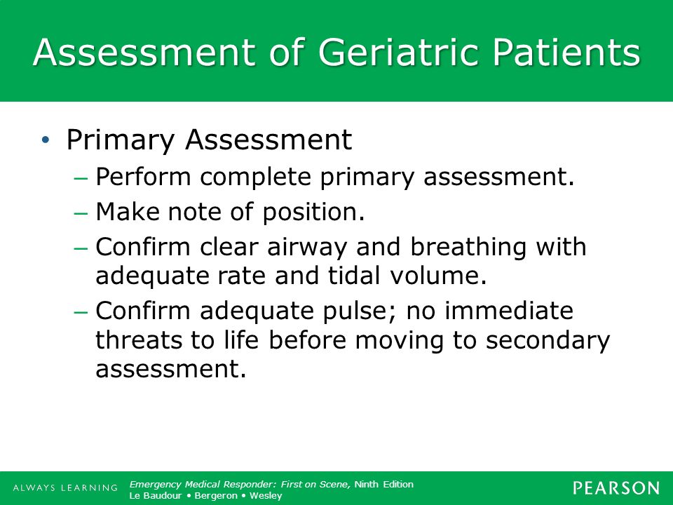 Assessment of Geriatric Patients