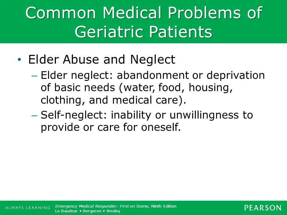 Common Medical Problems of Geriatric Patients