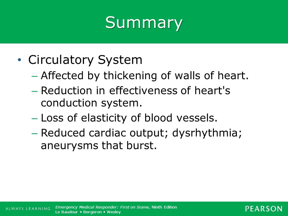 Summary Circulatory System Affected by thickening of walls of heart.