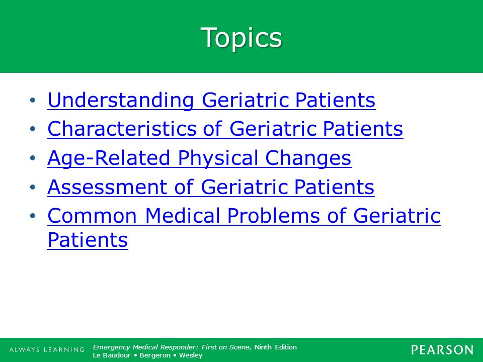 Topics Understanding Geriatric Patients