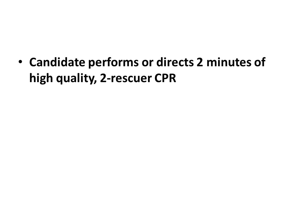 Candidate performs or directs 2 minutes of high quality, 2-rescuer CPR