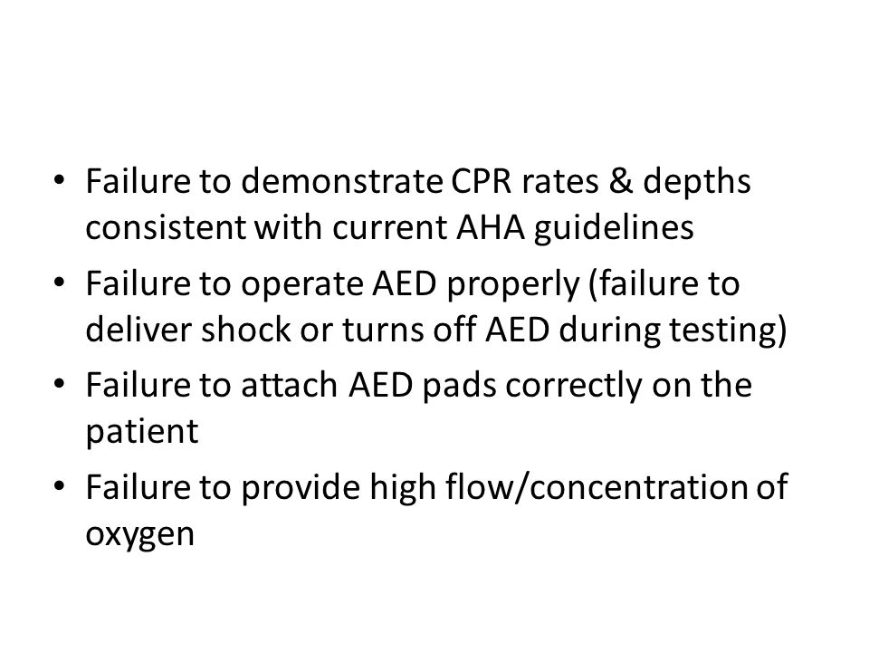 Failure to demonstrate CPR rates & depths consistent with current AHA guidelines