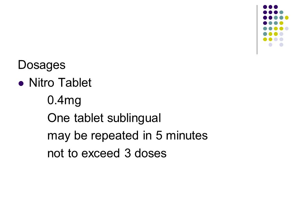 Dosages Nitro Tablet 0.4mg One tablet sublingual may be repeated in 5 minutes not to exceed 3 doses