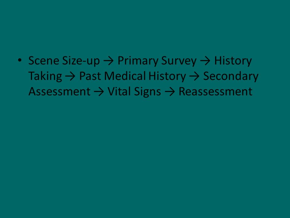 Scene Size-up → Primary Survey → History Taking → Past Medical History → Secondary Assessment → Vital Signs → Reassessment