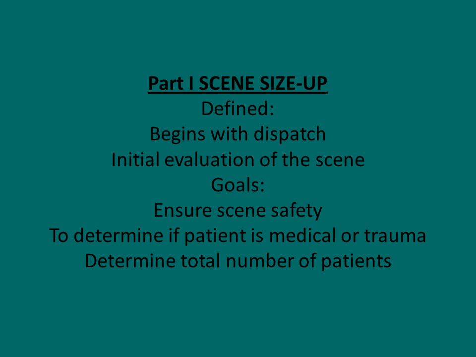Initial evaluation of the scene Goals: Ensure scene safety