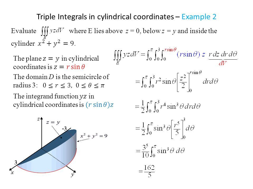 Examples: Evaluate triple integrals in Cartesian, cylindrical, spherical coordinates