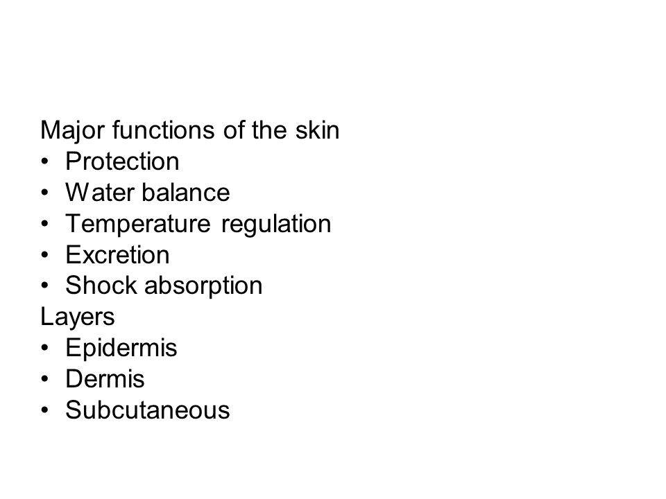 Major functions of the skin