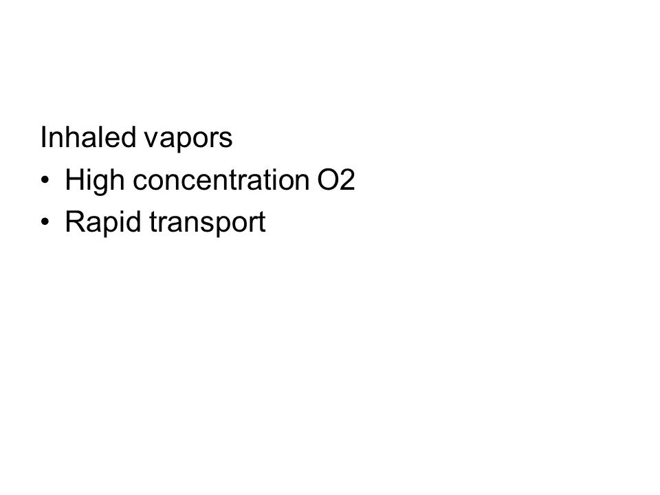 Inhaled vapors High concentration O2 Rapid transport