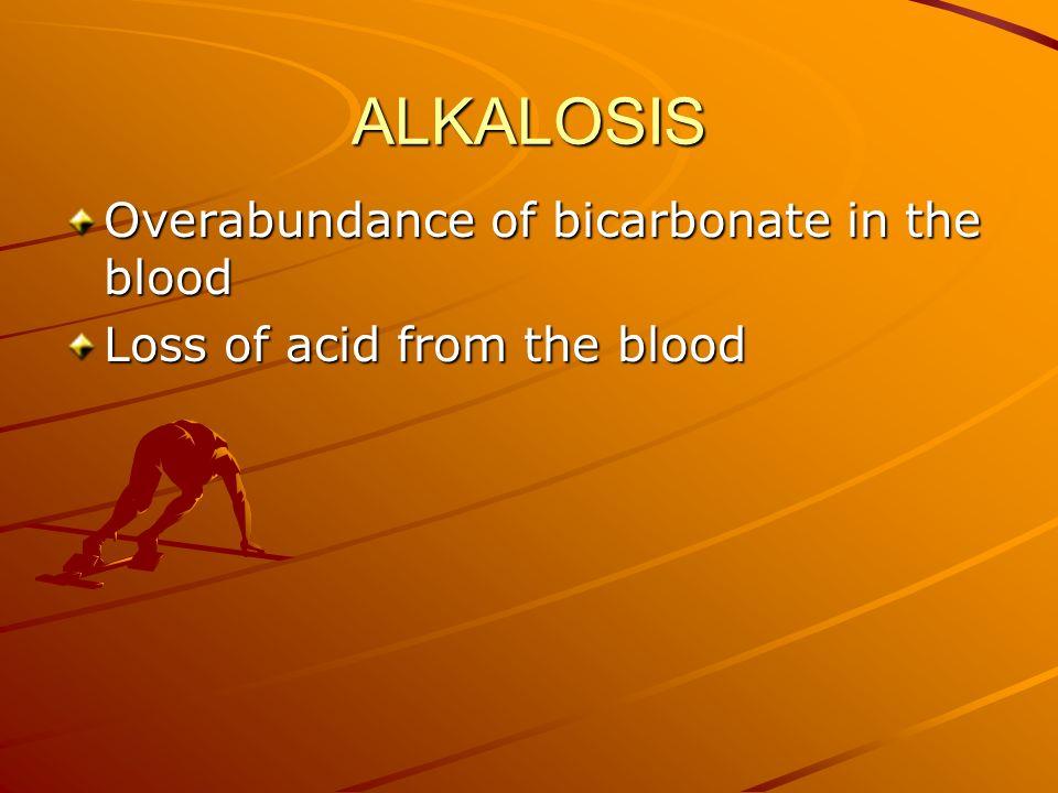 ALKALOSIS Overabundance of bicarbonate in the blood