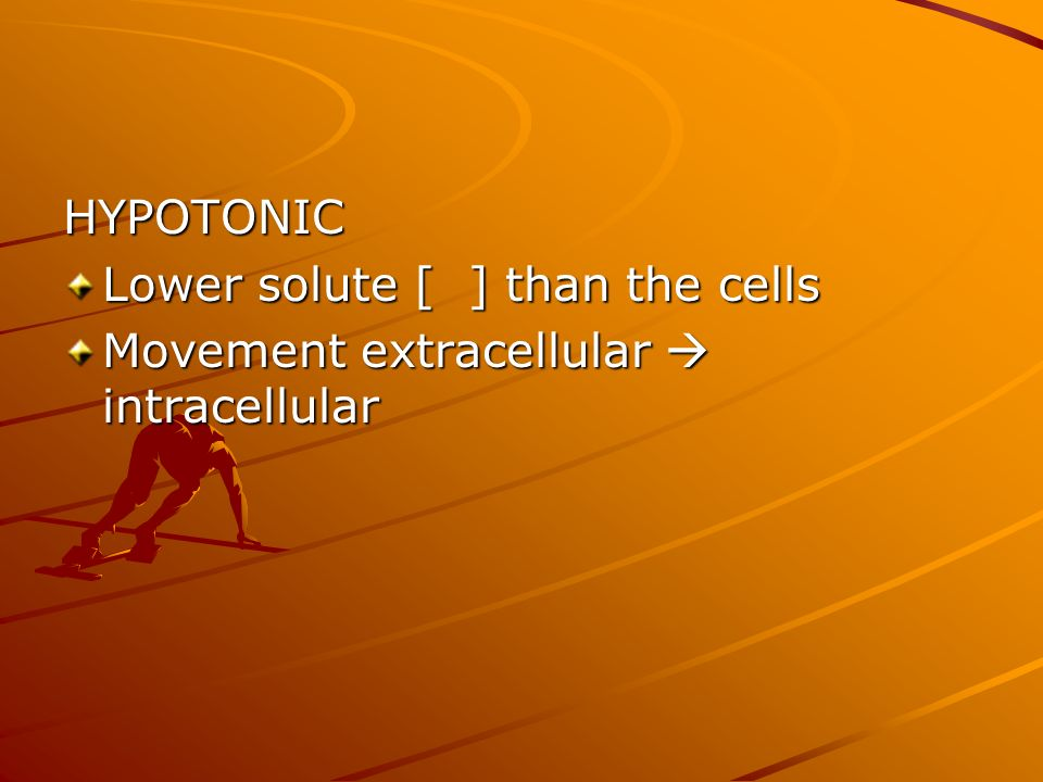 HYPOTONIC Lower solute [ ] than the cells Movement extracellular  intracellular