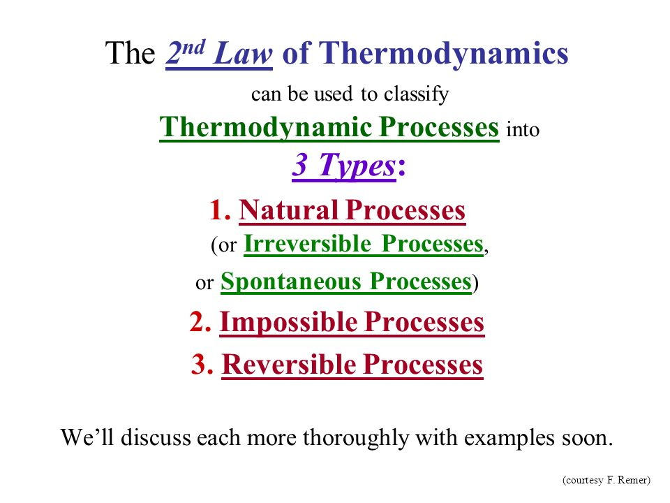 The 2nd Law of Thermodynamics can be used to classify Thermodynamic Processes into 3 Types: