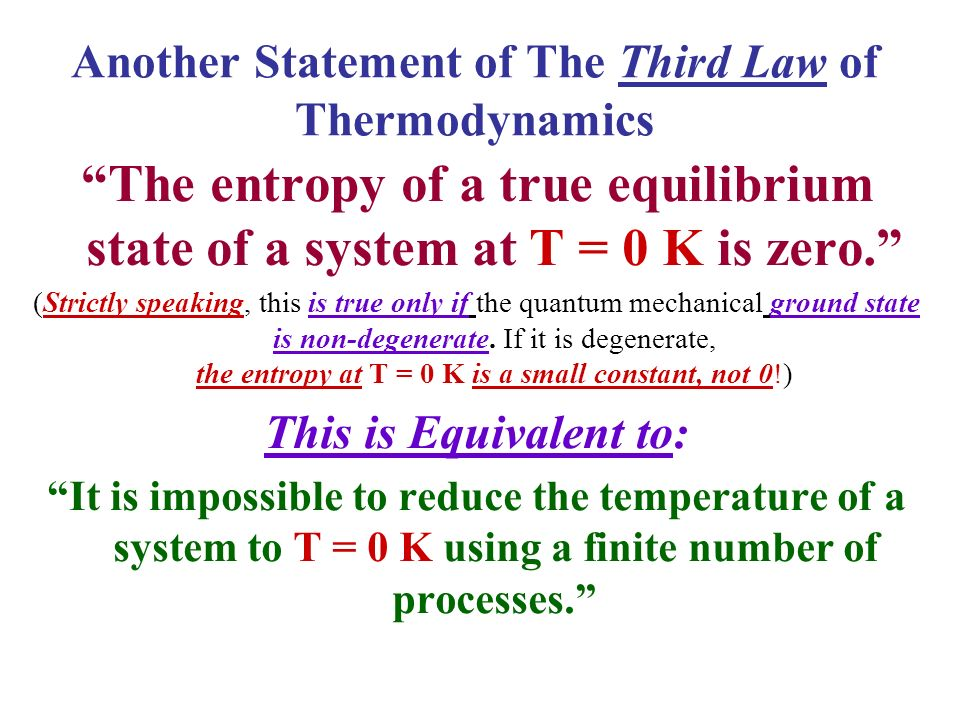 Another Statement of The Third Law of Thermodynamics