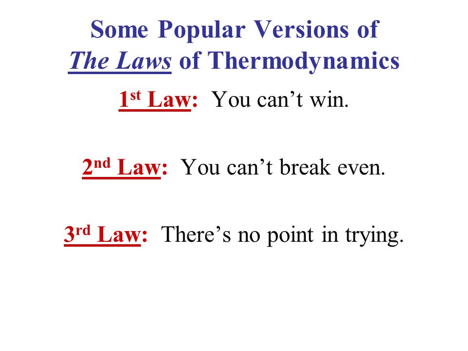 Some Popular Versions of The Laws of Thermodynamics